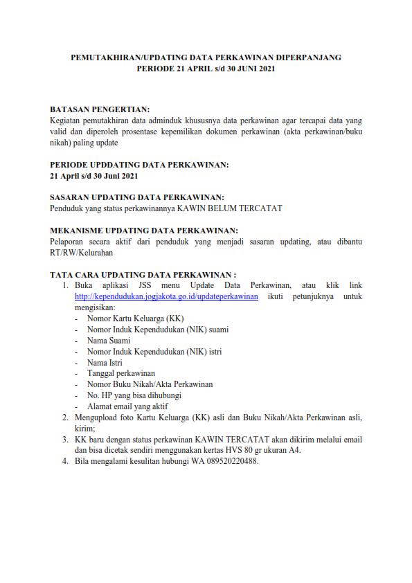 PEMUTAKHIRAN/UPDATING DATA PERKAWINAN DIPERPANJANG PERIODE 21 APRIL s/d 30 JUNI 2021